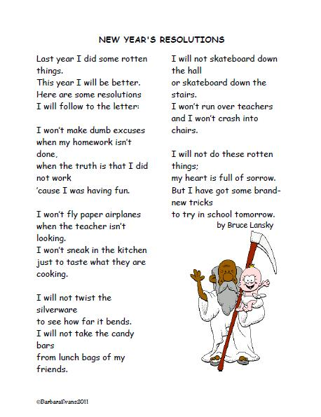 It\'s About Time, Teachers!: New Year\'s Poem Freebie
