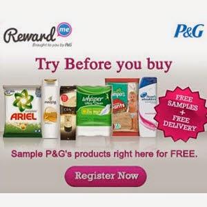 Reward Me : Free Pantene Sampoo, Olay, Ariel, Pamper, Whisper, Head & Shoulder