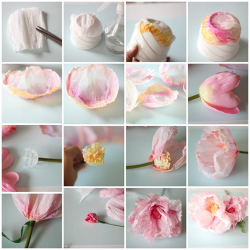 Crepe+Paper+FLowers+DIY Crepe and Watercolour Flower Tutorial
