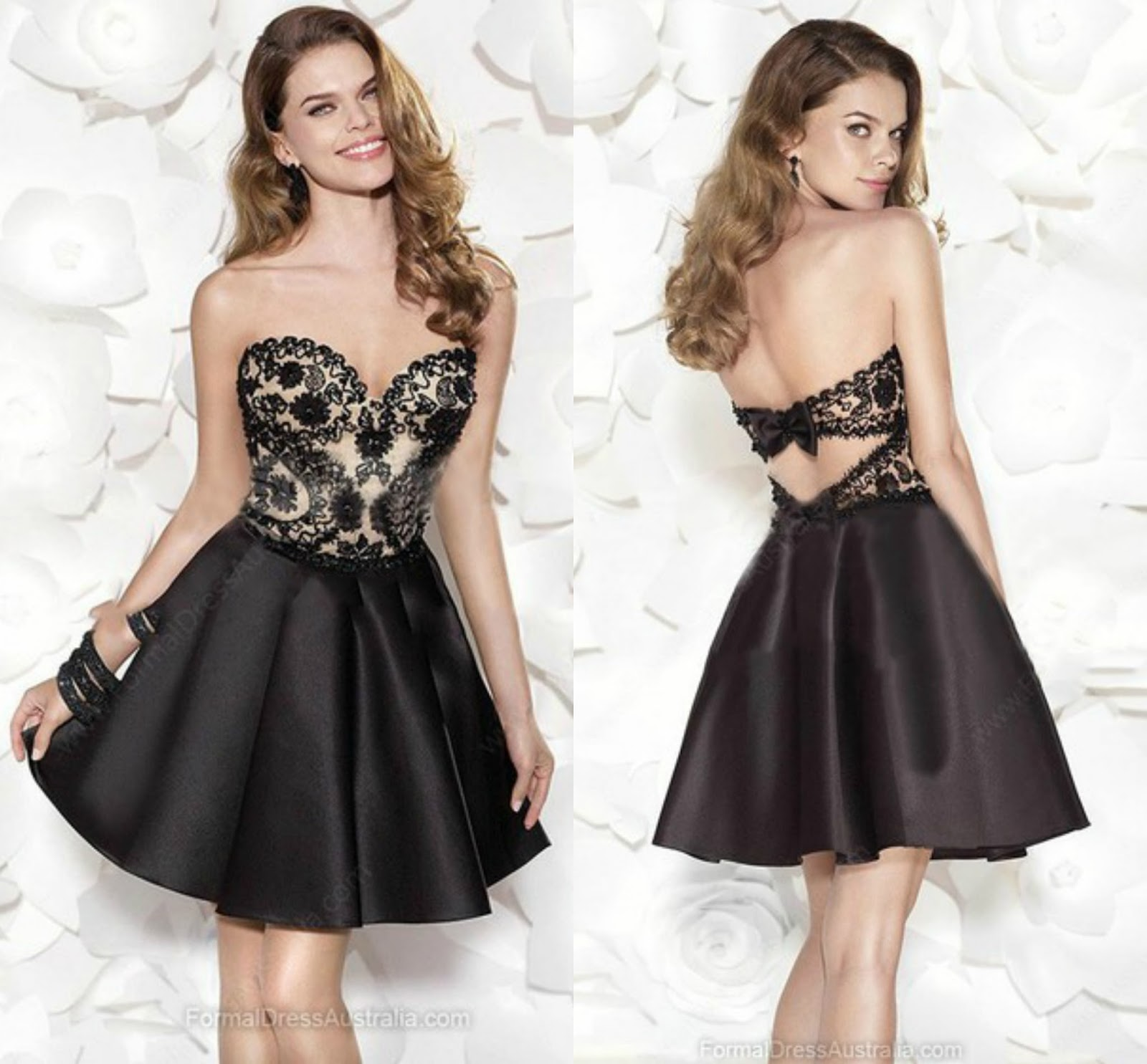 A-line Satin Sweetheart Appliques Lace Short/Mini Formal Dresses