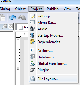 Autoplay media studio : [Menu] > Project > File layout..