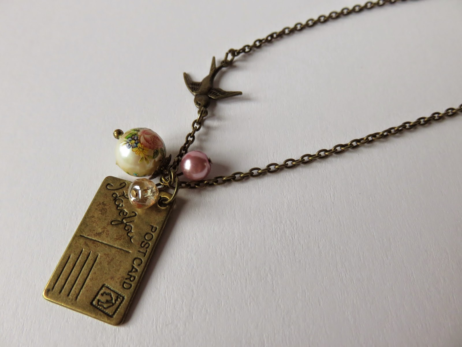 necklace art swallow letters ketting kunst zwaluw brief