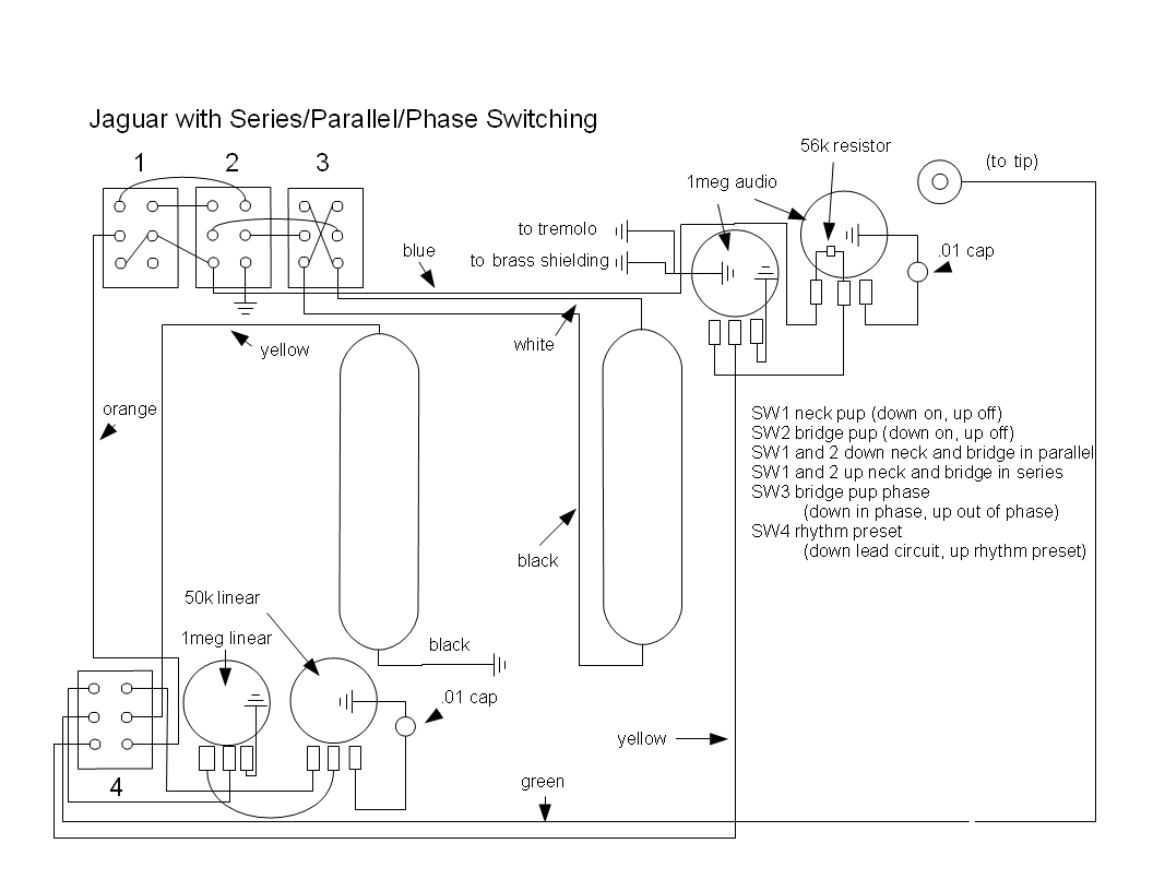 Jaguar+Series+Parallel+Phase+Switching music wrench fender jaguar rewiring with series, parallel and fender jaguar wiring diagram at bayanpartner.co