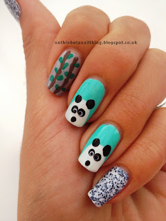 panda nails nail art bamboo eats shoots leaves