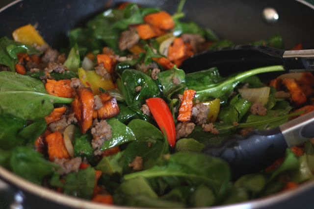Sweet Potato, Onion, Bell Pepper and Sausage Hash recipe by Barefeet In The Kitchen
