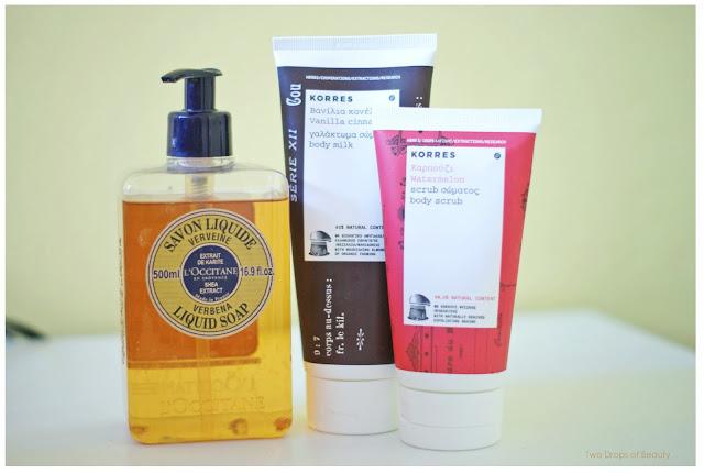Korres, Loccitane, молочко для тела, жидкое мыло, скраб для тела