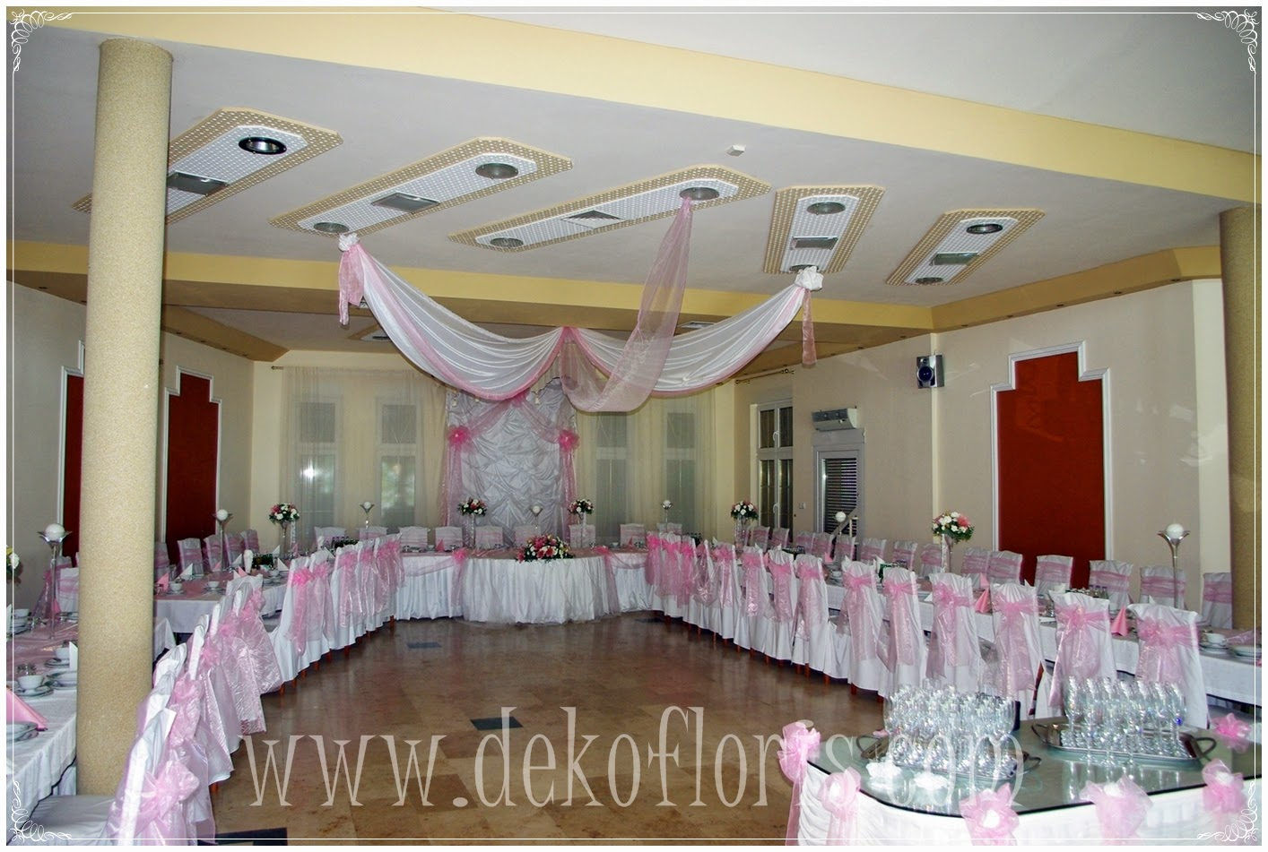 wesele - różowa dekoracja ślubna opolskie, Opole, Niemodlin, Brzeg, Olesno