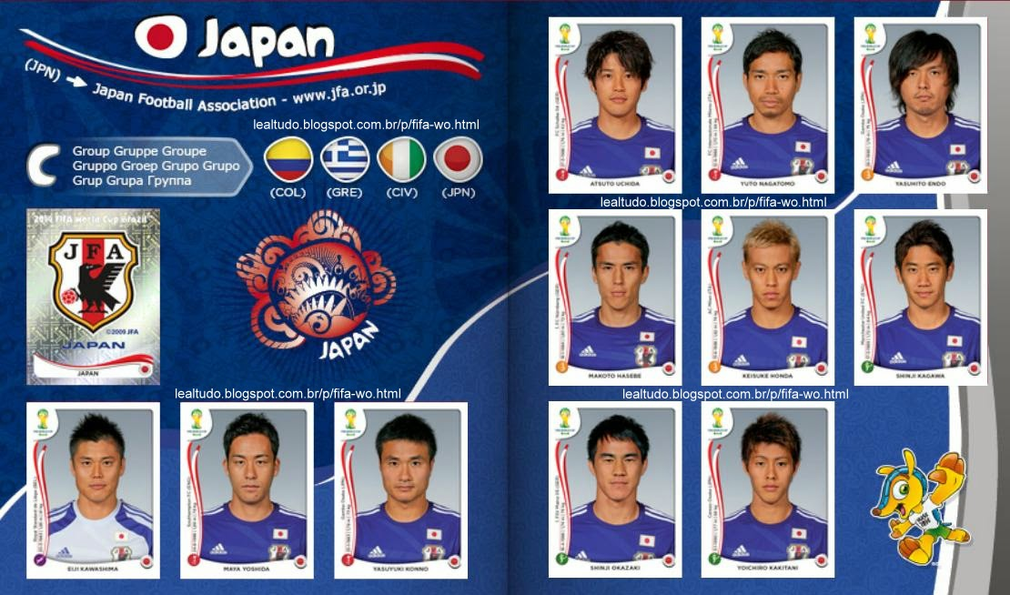 Album JAPAN - JAPÃO Fifa World Cup BRAZIL 2014 LIVE COPA DO MUNDO Sticker Figurinha Download Lealtudo