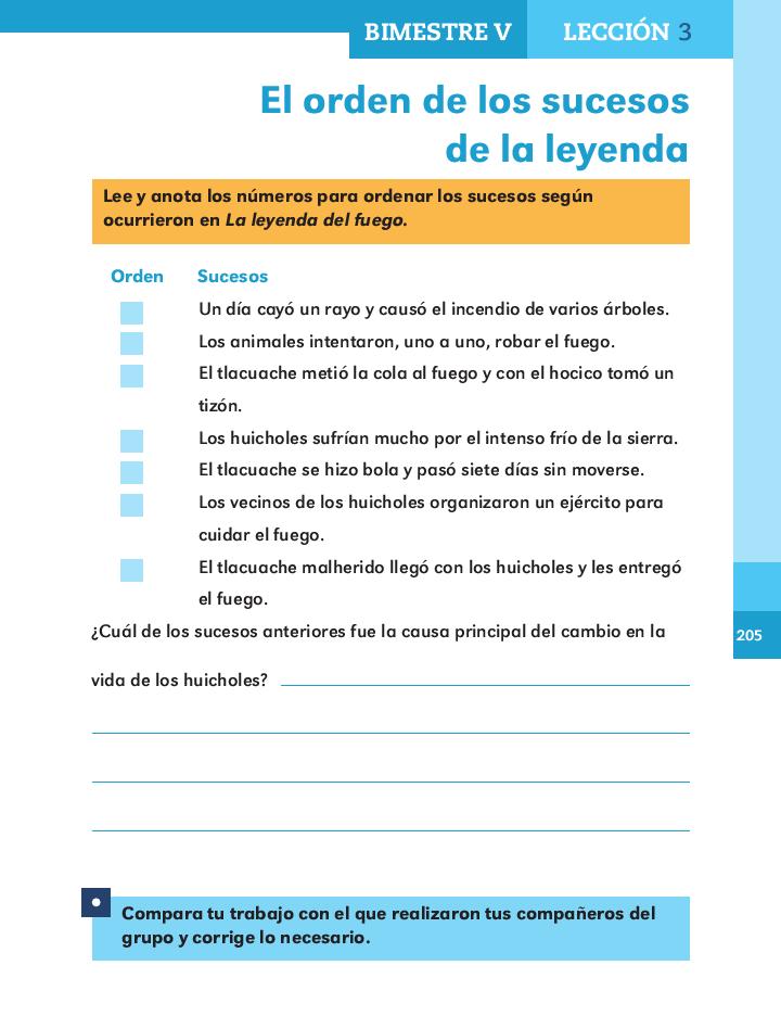 El orden de los sucesos de la leyenda - Español 2do Bloque 5 ~ Apoyo ...