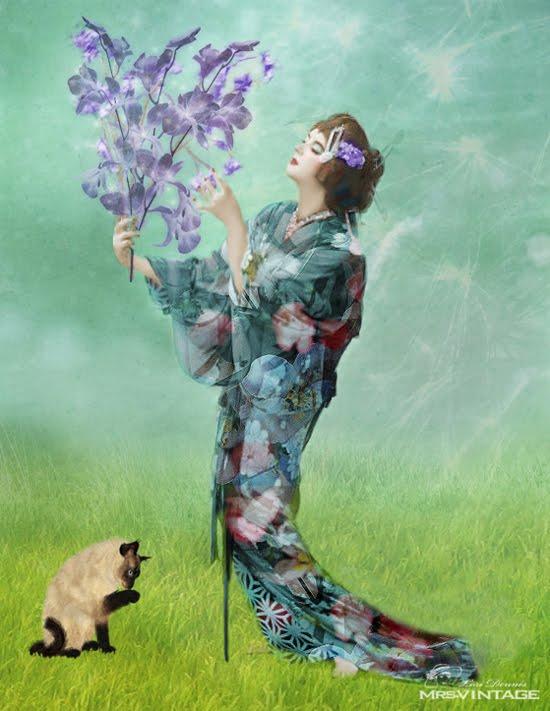 Karya Seni Lukisan Digital Wanita Geisha