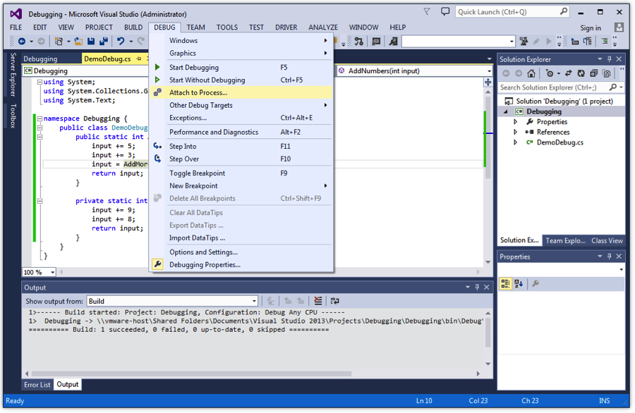 Debug Menu Attach to Process in Microsoft Visual Studio with EnCase