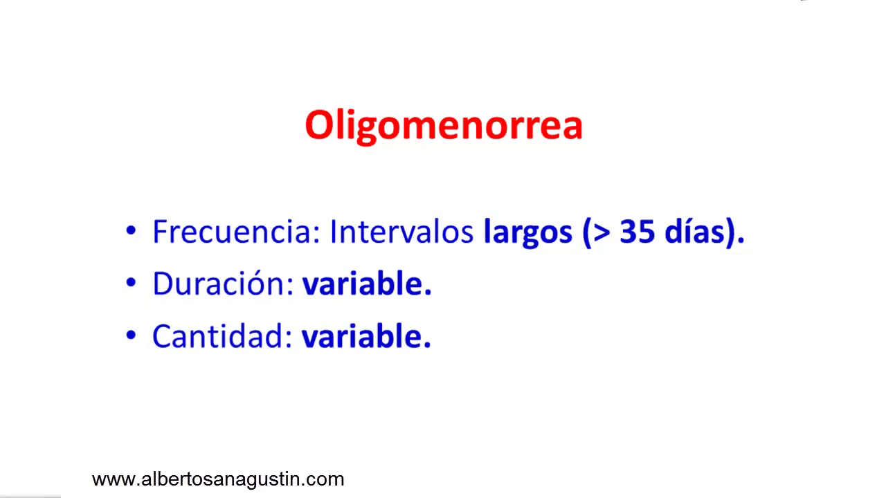 trastornos menstruales:oligomenorrea