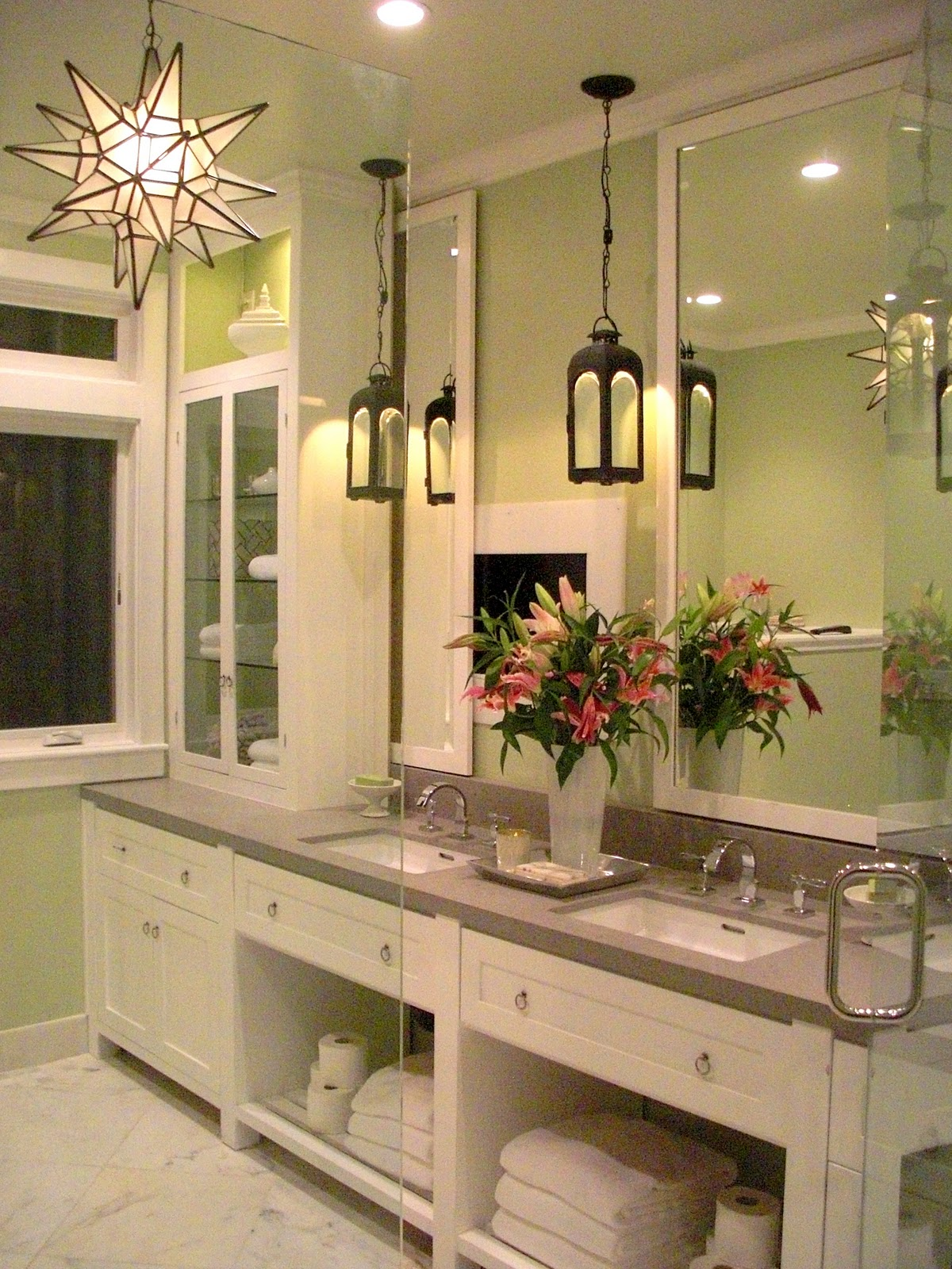Katiedid katie denham interiors on bath crashers for Light fixtures for bathrooms