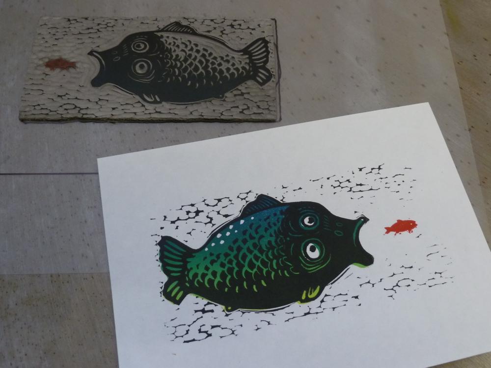 Linocut tutorial - how to print a colour blend - LinocutBoy
