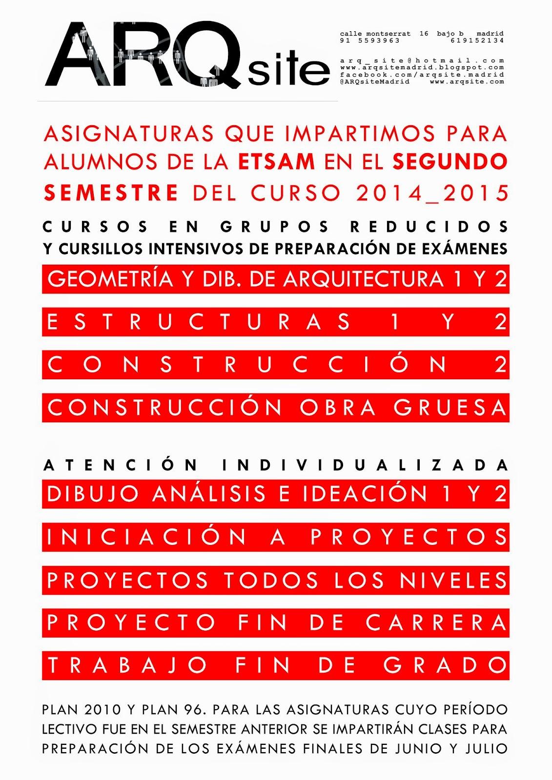 Academia arqsite madrid asignaturas que impartimos en el for Asignaturas arquitectura