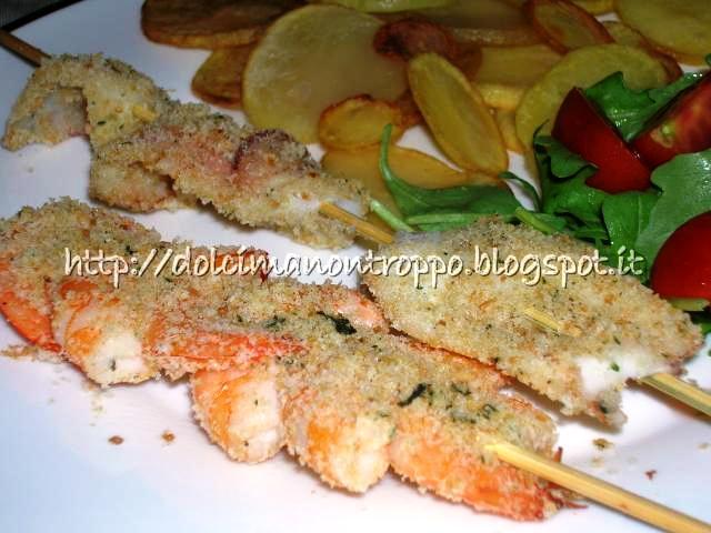 Dolcimanontroppo spiedini di gamberi gratinati al forno for Spiedini di pesce gratinati