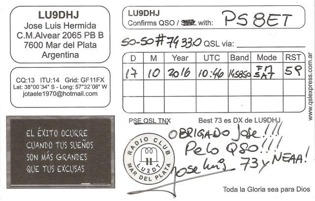QSL da Argentina - SO50