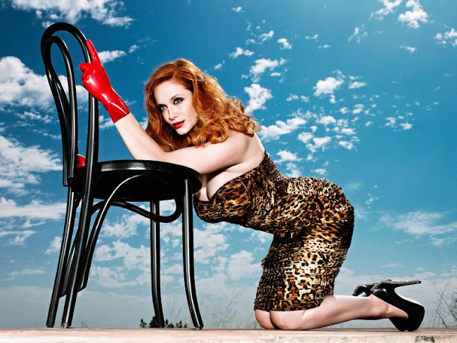 Christina Hendricks on her knees in 50's inspired Pin-Up shoot
