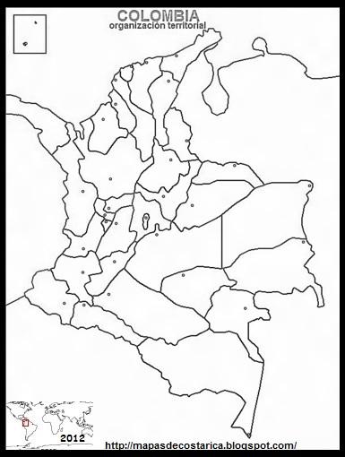 Mapa blanco y negro de COLOMBIA , organización territorial
