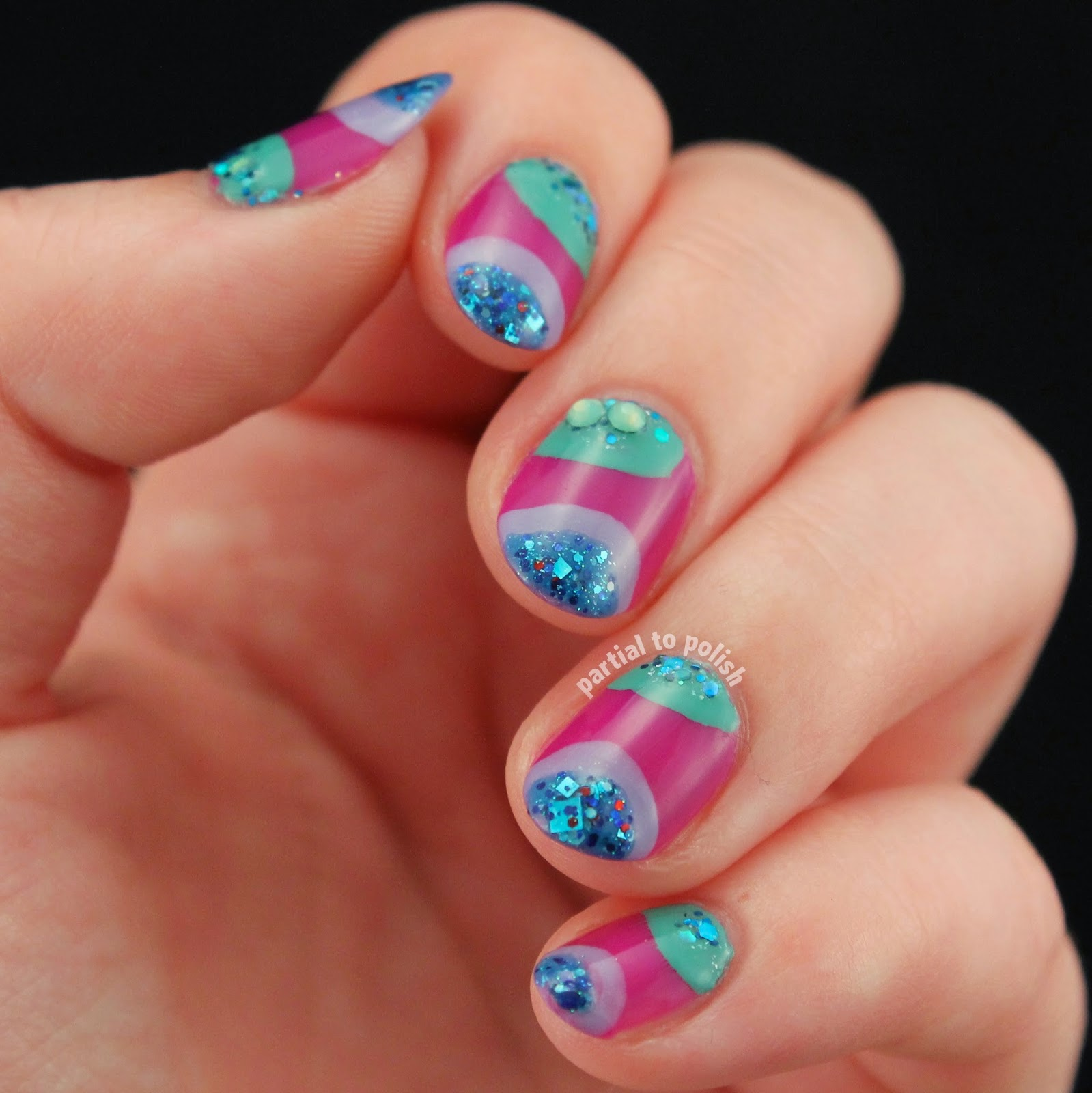 Groovy Purple & Green Nail Art Featuring a Born Pretty Store Iridescent Rhinestone Review!