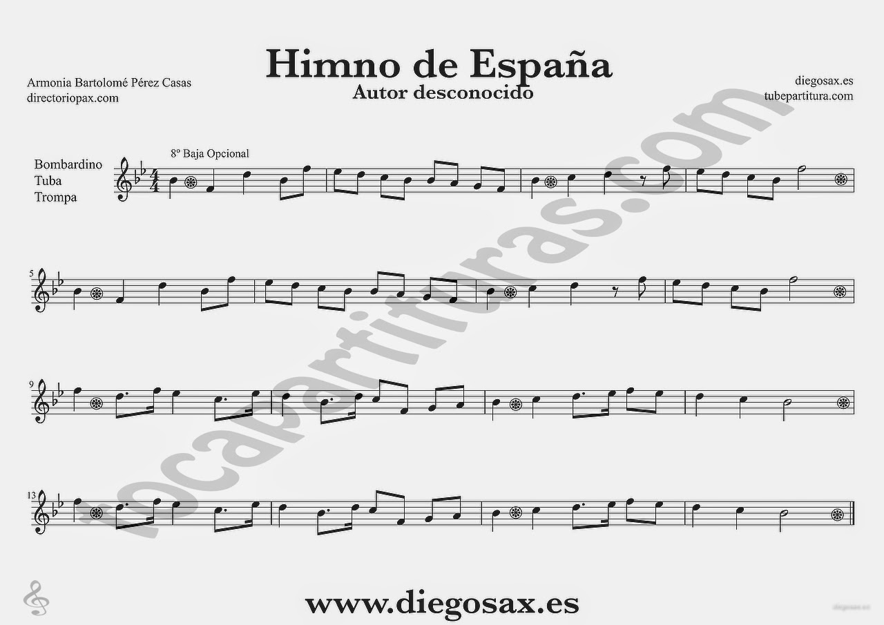 Tubepartitura Himno Nacional de España Partitura de Trombón Tuba y Bombardino Himnos del Mundo
