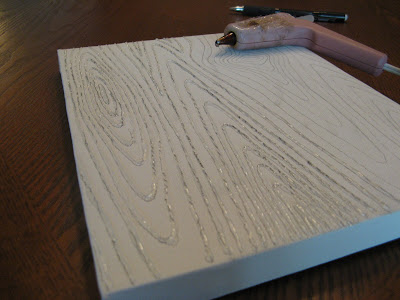 Hot glue over wood grain pattern