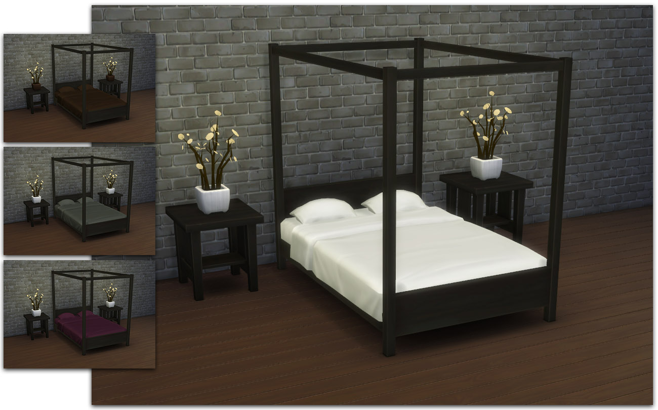 my sims 4 blog modern four poster double bed by ignorantbliss. Black Bedroom Furniture Sets. Home Design Ideas