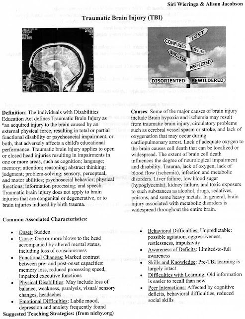 teaching strategies for students with physical and health impairments and traumatic brain injury