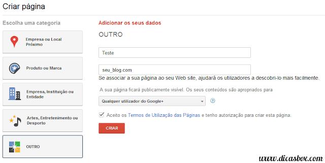 Como criar uma página para o seu blog no Google Plus - Step 3