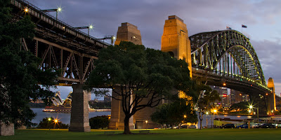 A photograph of the Harbour Bridge in Sydney, Australia