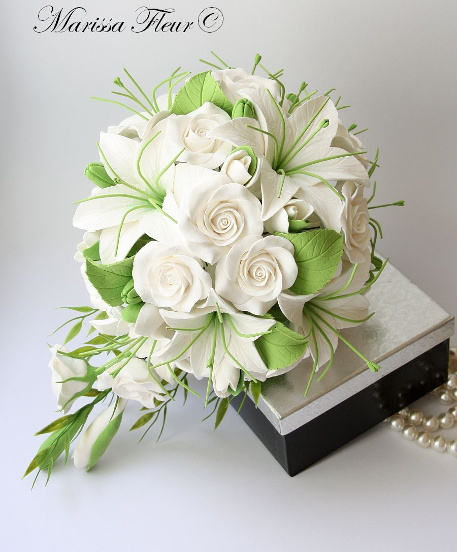 A Touch Of Beauty White Bridal Bouquet With Lilies And Roses