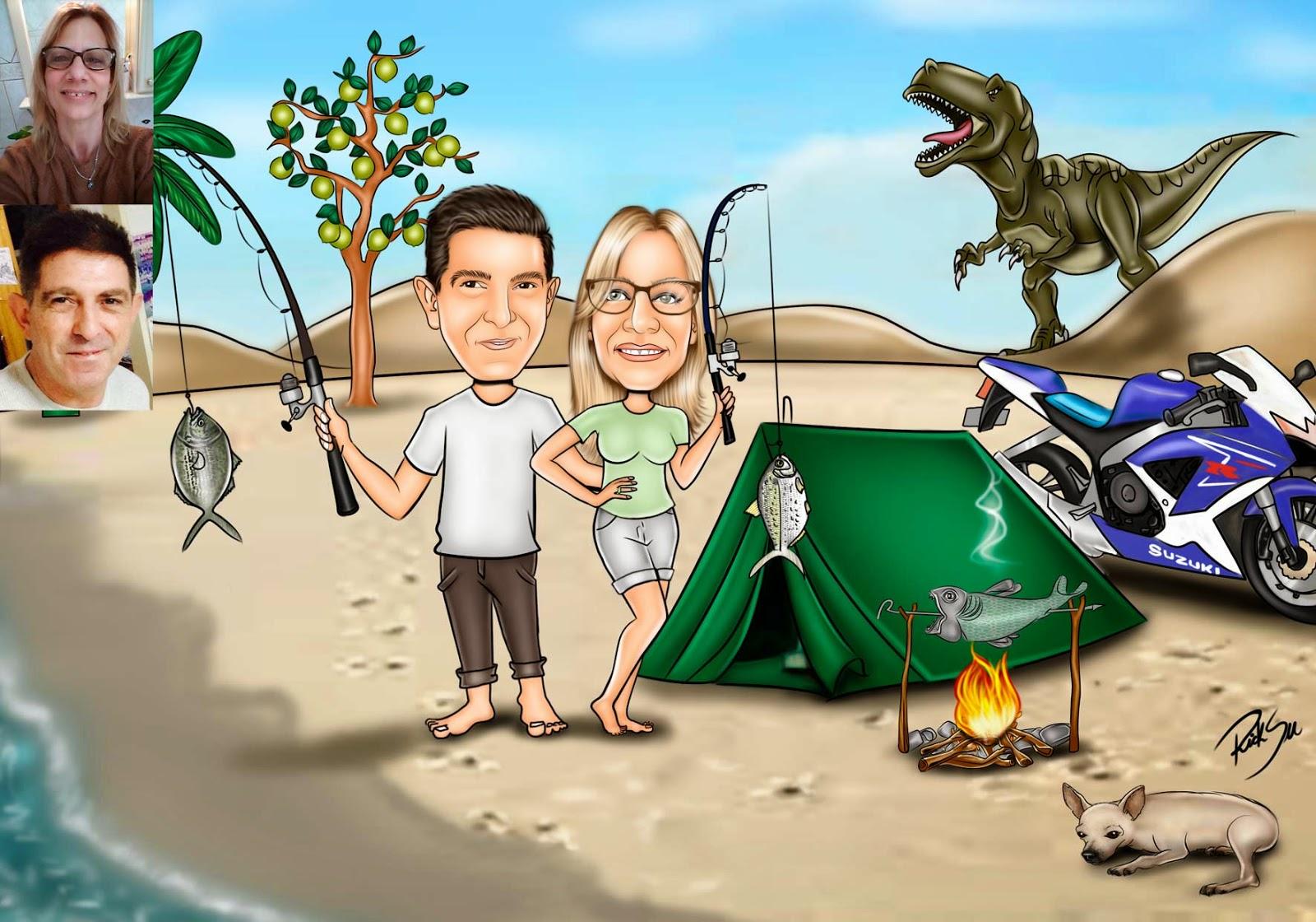 dinossauro e barraca na praia