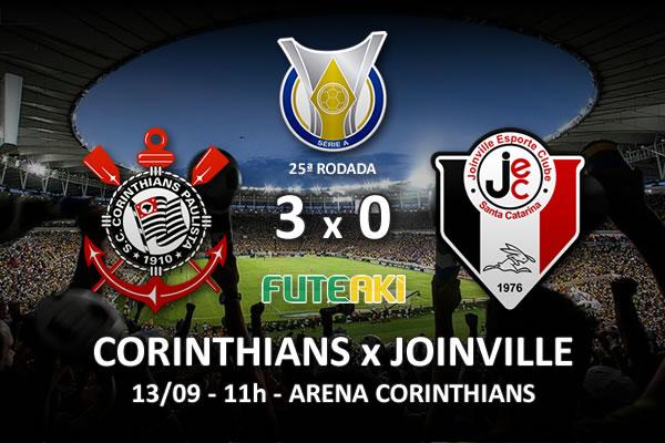 Veja o resumo da partida com os gols e os melhores momentos de Corinthians 3x0 Joinville pela 25ª rodada do Brasileirão 2015.