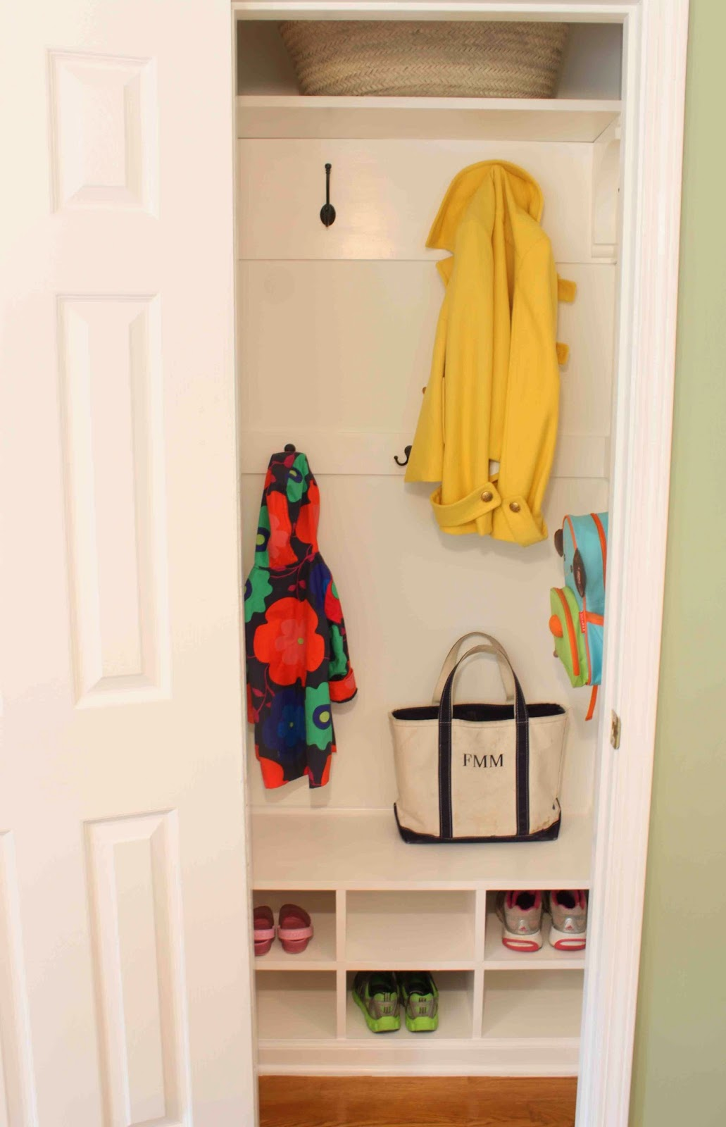 Mudroom Hanging Storage : Green street from hanging closet to itsy bitsy mudroom