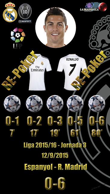Cristiano Ronaldo (Re-Poker de goles) - Espanyol 0 - 6 Real Madrid - Liga 2015/16 - Jornada 3 - (12/9/2015)