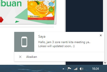 bentuk notifikasi pada layar PC