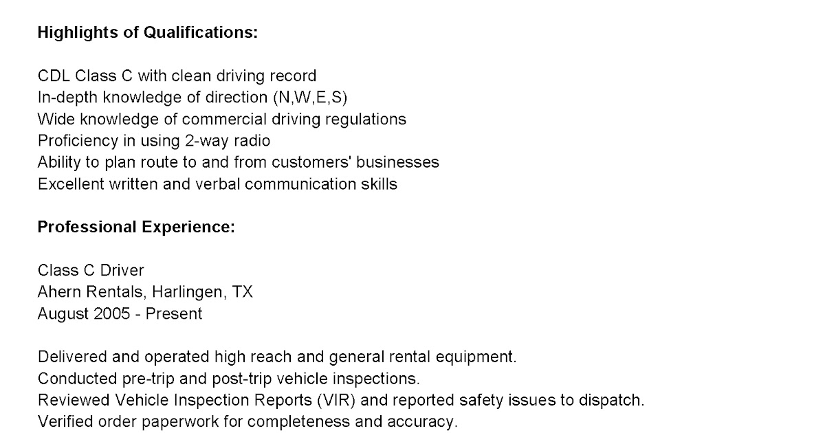 Driver Resumes: Class C Driver Resume Sample