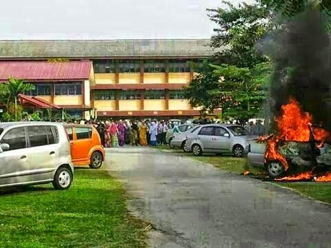 Kereta Cikgu Hangus Terbakar