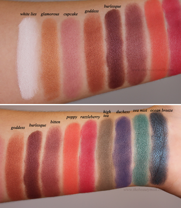 makeup geek eyeshadows mug review swatches white lies glamorous cupcake goddess burlesque bitten poppy razzleberry high tea duchess sea mist ocean breeze