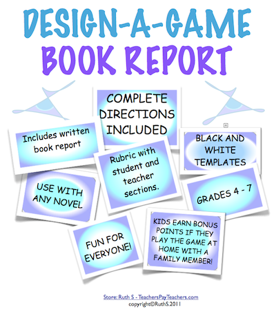 photo of Design A Game Book Report, PDF, book reports, games, Common Core, Language Arts, Ruth S.