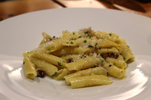 Garganelli with chicken oysters at Catalyst, Cambridge, Mass.