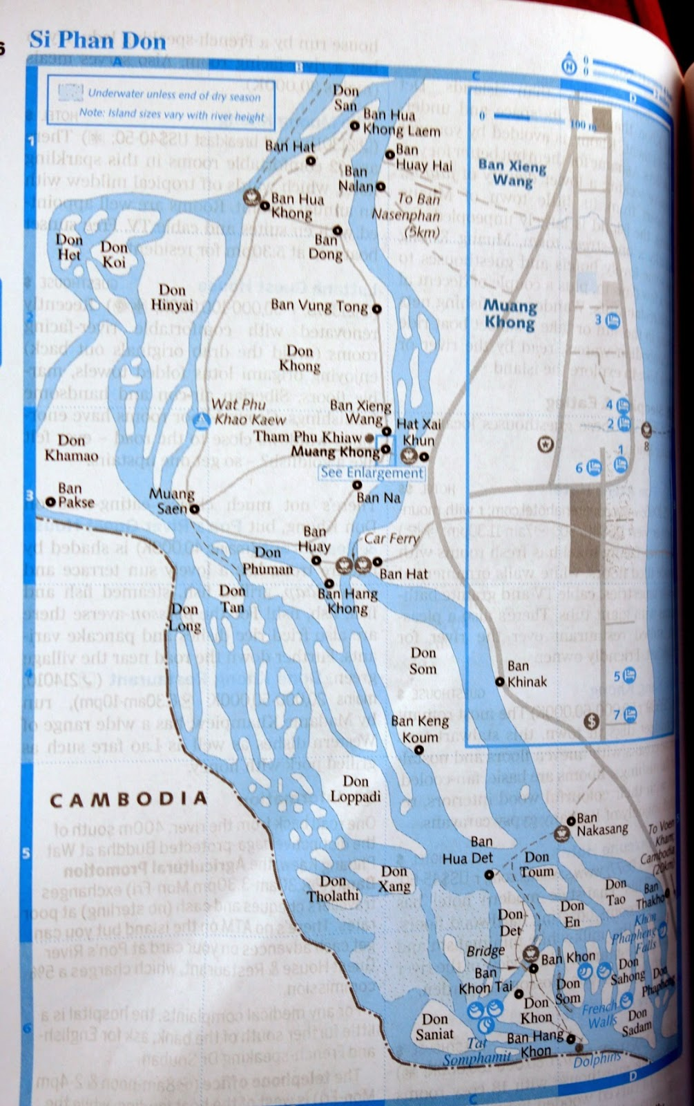 map of some of the islands including the biggest don khong