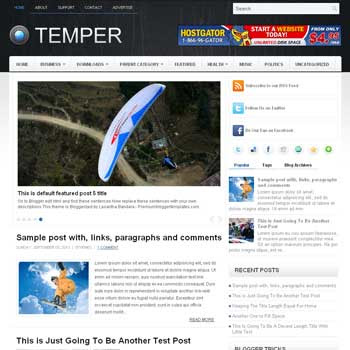 Temper blog template. template image slider blog. magazine blogger template style. wordpress theme to blogger. template blog 3 column footer