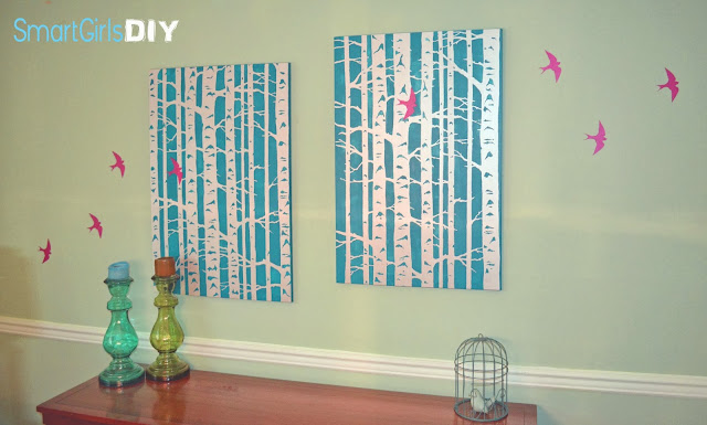 Inexpensive wall art made from canvas and birch tree stencil from Cutting Edge Stencils