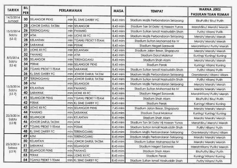 Jadual Liga Super 2014