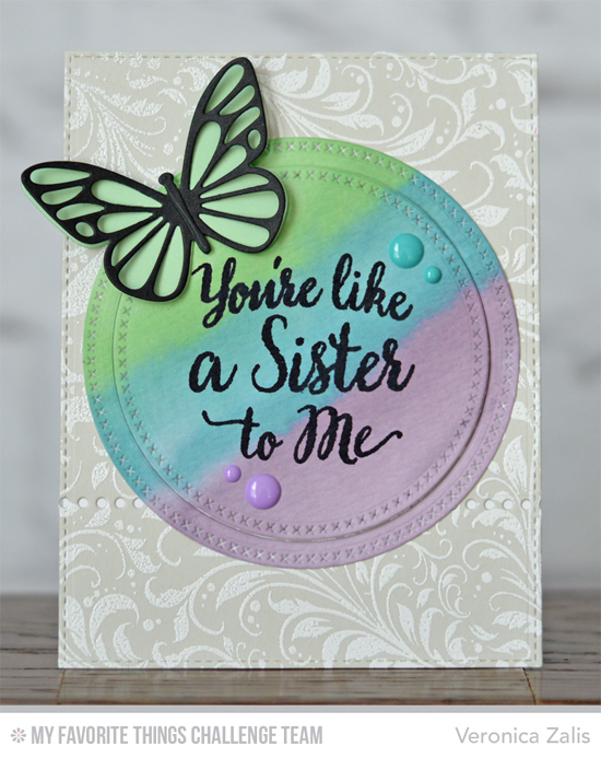 Butterfly Friend Card by Veronica Zalis featuring the True Friends stamp set, Garden Flourish Background stamp, and the Flutter of Butterflies - Lace and Solid Die-namics #mftstamps