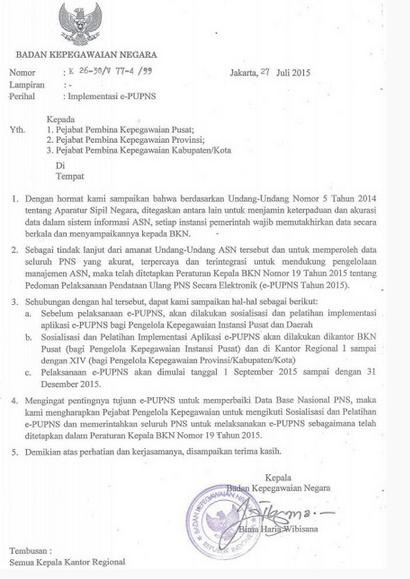 Surat Edaran Jadwal Pelaksanaan E-PUPNS Tahun 2015