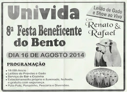 8ª FESTA BENEFICENTE DO BENTO NA UNIVIDA