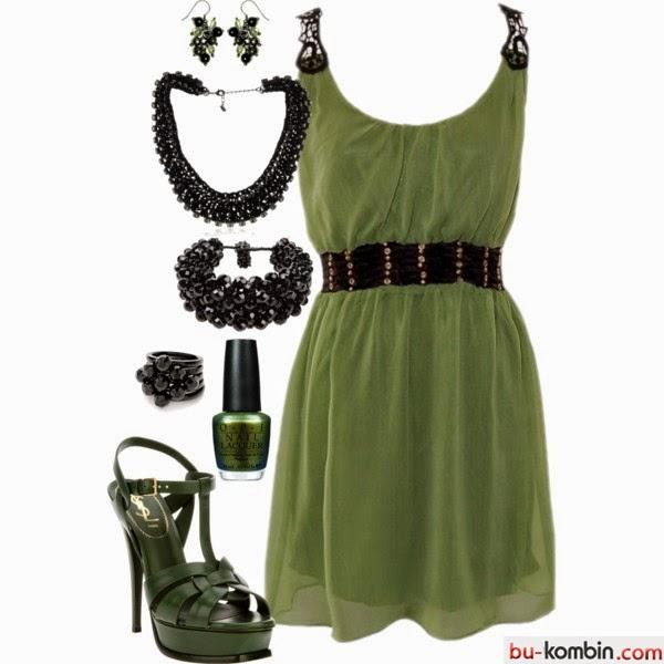 Yeşil Elbise Siyah Topuklu Ayakkabı Kombini Bu Kombin Moda Trend