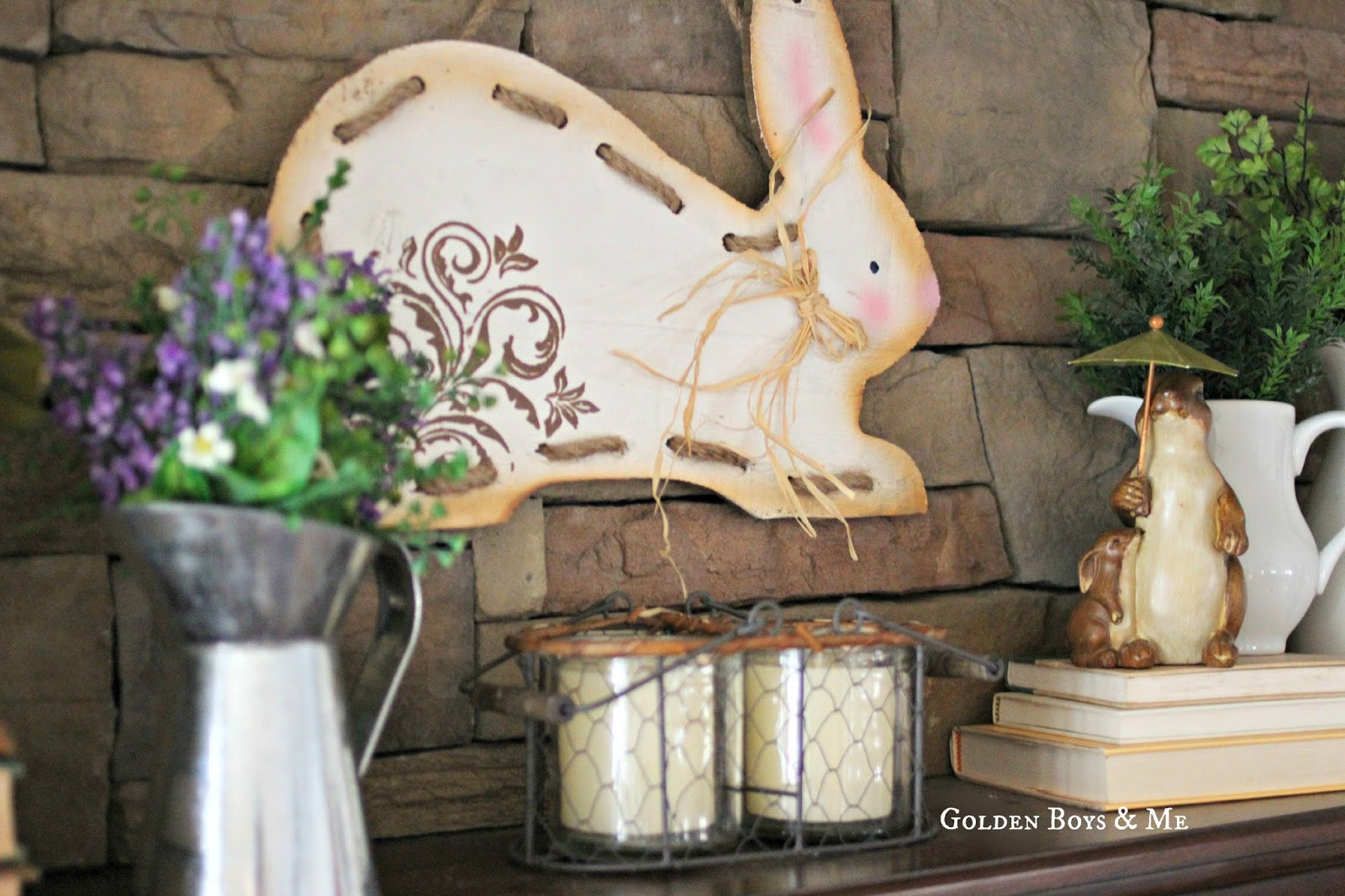 Rabbit bunny sign on spring mantel-www.goldenboysandme.com